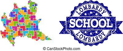 Mosaic Map of Lombardy Region and Distress School Stamp...