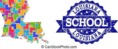 Mosaic Map of Louisiana State and Textured School Stamp Collage