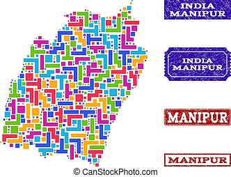 Mosaic Map of Manipur State and Grunge Stamps Collage