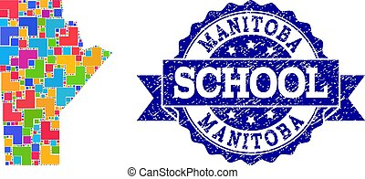Mosaic Map of Manitoba Province and Grunge School Stamp Composition