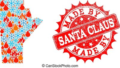 Mosaic Map of Manitoba Province of Flame and Snow and Made by Santa Claus Scratched Stamp