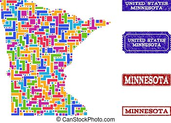 Mosaic Map of Minnesota State and Grunge Seals Collage