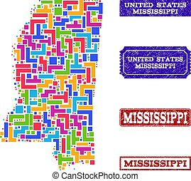 Mosaic Map of Mississippi State and Grunge Stamps Collage
