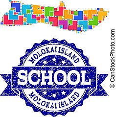 Mosaic Map of Molokai Island and Grunge School Seal Collage
