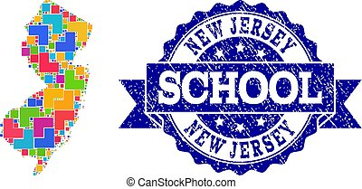 Mosaic Map of New Jersey State and Scratched School Seal Composition