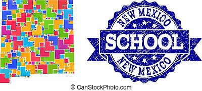 Mosaic Map of New Mexico State and Grunge School Seal...
