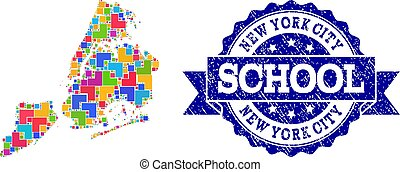 Mosaic Map of New York City and Scratched School Seal Composition