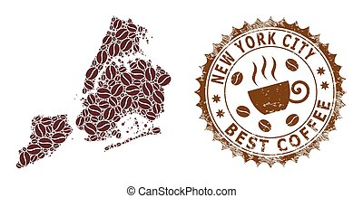 Mosaic Map of New York City with Coffee and Distress Badge for Best Coffee