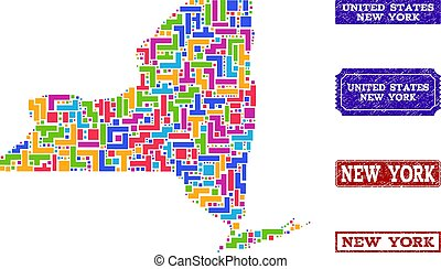 Mosaic Map of New York State and Distress Stamps Collage