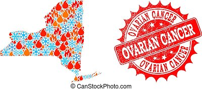 Mosaic Map of New York State of Fire and Snow and Ovarian Cancer Distress Stamp