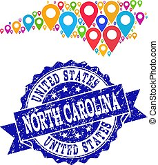 Mosaic Map of North Carolina State with Map Pins and Textured Seal