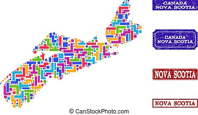 Mosaic Map of Nova Scotia Province and Grunge Seals Composition