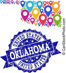 Mosaic Map of Oklahoma State with Map Pins and Grunge Seal