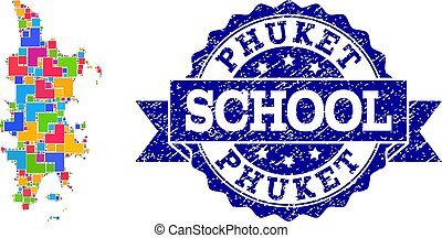Mosaic Map of Phuket and Distress School Seal Composition -...