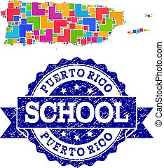 Mosaic Map of Puerto Rico and Grunge School Seal Collage
