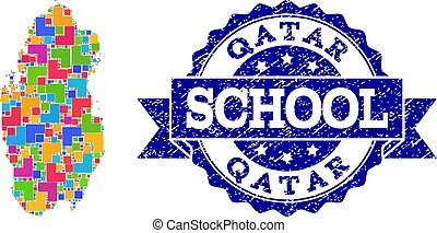Mosaic Map of Qatar and Scratched School Seal Collage