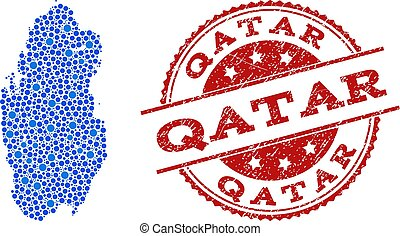 Mosaic Map of Qatar with Connected Dots and Scratched Stamp
