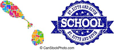 Mosaic Map of Saint Kitts and Nevis and Distress School Stamp Composition