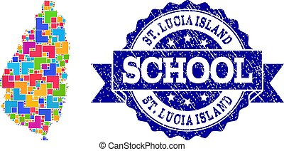 Mosaic Map of Saint Lucia Island and Textured School Stamp Composition