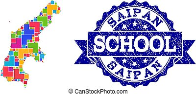 Mosaic Map of Saipan Island and Distress School Stamp Collage