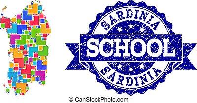 Mosaic Map of Sardinia Region and Distress School Seal...