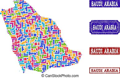 Mosaic Map of Saudi Arabia and Textured Seals Composition