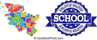 Mosaic Map of Schleswig-Holstein State and Distress School Seal Collage