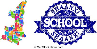 Mosaic Map of Shaanxi Province and Distress School Seal...