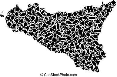 Mosaic Map Of Sicilia Island of Geometric Shapes - Mosaic...