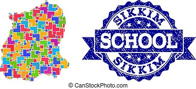 Mosaic Map of Sikkim State and Grunge School Seal Collage