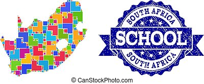 Mosaic Map of South African Republic and Distress School Seal Composition