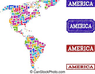 Mosaic Map of South and North America and Textured Stamps Composition