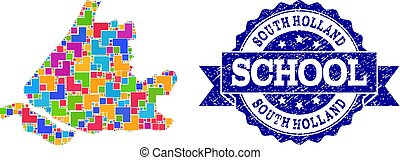 Mosaic Map of South Holland and Grunge School Seal...