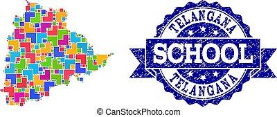 Mosaic Map of Telangana State and Grunge School Stamp...