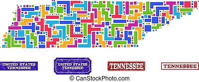 Mosaic Map of Tennessee State and Grunge Stamps Collage