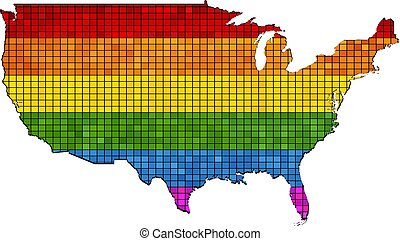 Mosaic map of USA in colors of LGBT
