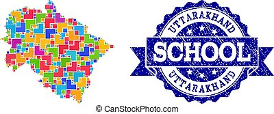 Mosaic Map of Uttarakhand State and Grunge School Seal Collage