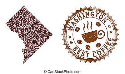 Mosaic Map of Washington District Columbia from Coffee and Grunge Badge for Best Coffee