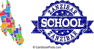 Mosaic Map of Zanzibar Island and Scratched School Seal Composition