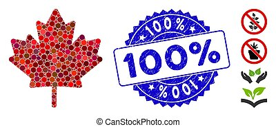 Mosaic Maple Leaf Icon with Distress 100% Seal
