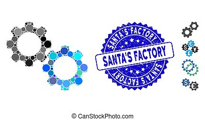 Mosaic Mechanical Gears Icon with Scratched Santa'S Factory Seal