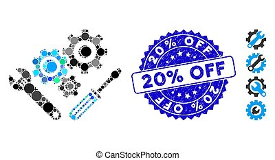 Mosaic Mechanics Tools Icon with Textured 20% Off Seal