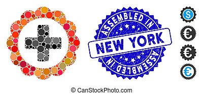 Mosaic Medical Sticker Icon with Distress Assembled in New York Stamp