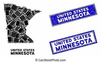 Mosaic Minnesota State Map and Scratched Rectangle Stamps