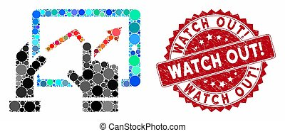 Mosaic mobile monitoring and rubber stamp seal with Watch Out! caption. Mosaic vector is created with mobile monitoring icon and with scattered circle elements. Watch Out! stamp seal uses red color,