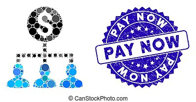 Mosaic Money Recipients Icon with Grunge Pay Now Seal