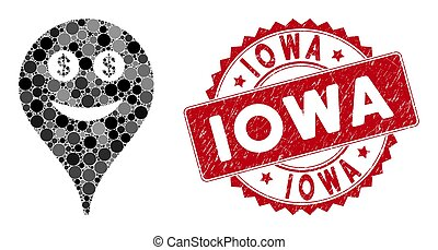 Mosaic Money Smiley Map Marker with Scratched Iowa Seal