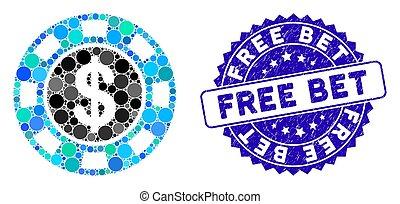 Mosaic Money Token Icon with Grunge Free Bet Seal