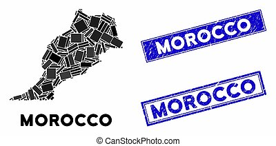 Mosaic Morocco Map and Distress Rectangle Stamps