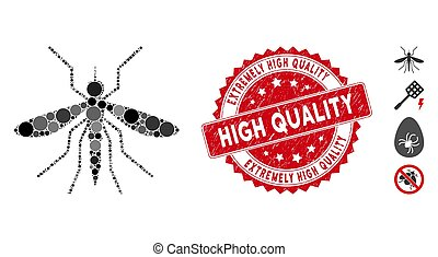 Mosaic Mosquito Icon with Scratched Extremely High Quality Stamp